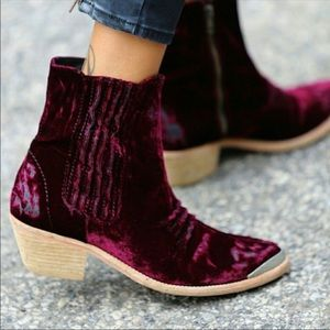 Free People Red Velvet boots